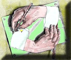 Maurits Corneli Escher (1898 – 1972) – Mani che disegnano (1948) – Litografia, colorata da Ernesto Giorgi.