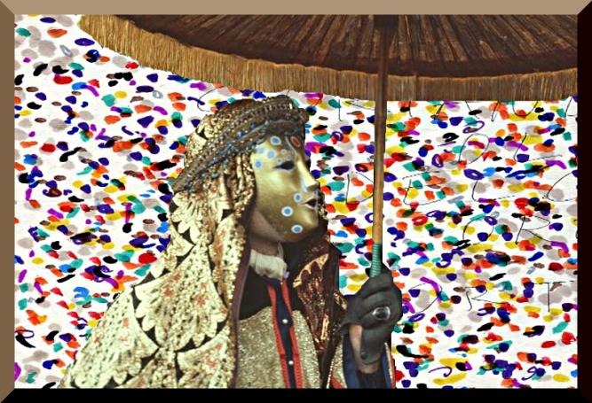 Carnevale di Venezia – Fotomontaggio di maschera bizantina con coriandoli - 1981 – Ernesto Giorgi ©