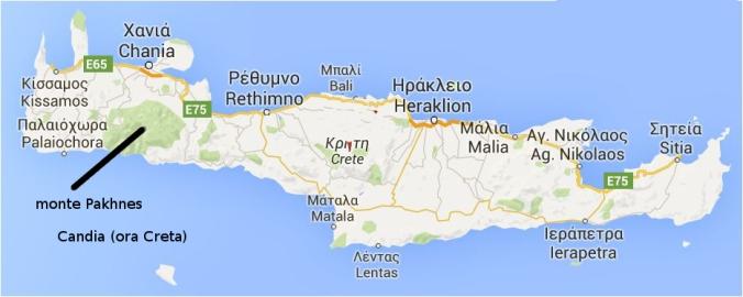 Piantina di Candia (oggi Creta) col monte Pakhnes, 2453 metri.