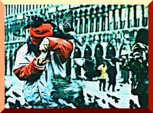 Venezia – novembre 1986 – Piazza San Marco – I piccioni assalgono un ragazzino che vuole offrire loro dei chicchi di mais - Ernesto Giorgi ©